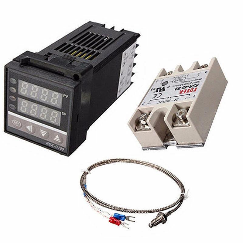Digital PID REX-C100 Temperature Controller & max.40A SSR W1L3 Thermocouple TD