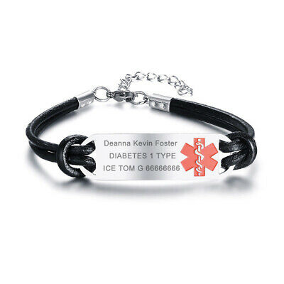 Life Saving Medical Alert ID Plate Men Women Bracelet Chain Free Laser (Medical Jewelry Id Plate)