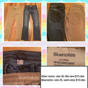 Silver jeans, others and leggings, all new or like new!