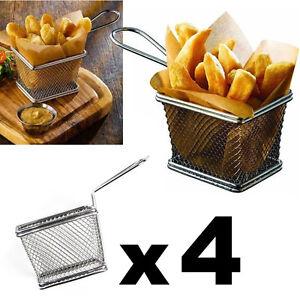 4pcs Mini Chrome Chip Fryer Basket Kitchen Pub Bar Restaurant Cafe Food Serving