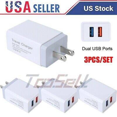 3Pack Wall Charger USB Plug Dual Port 2.4A 5V Charging Block Fast Charging Cubes