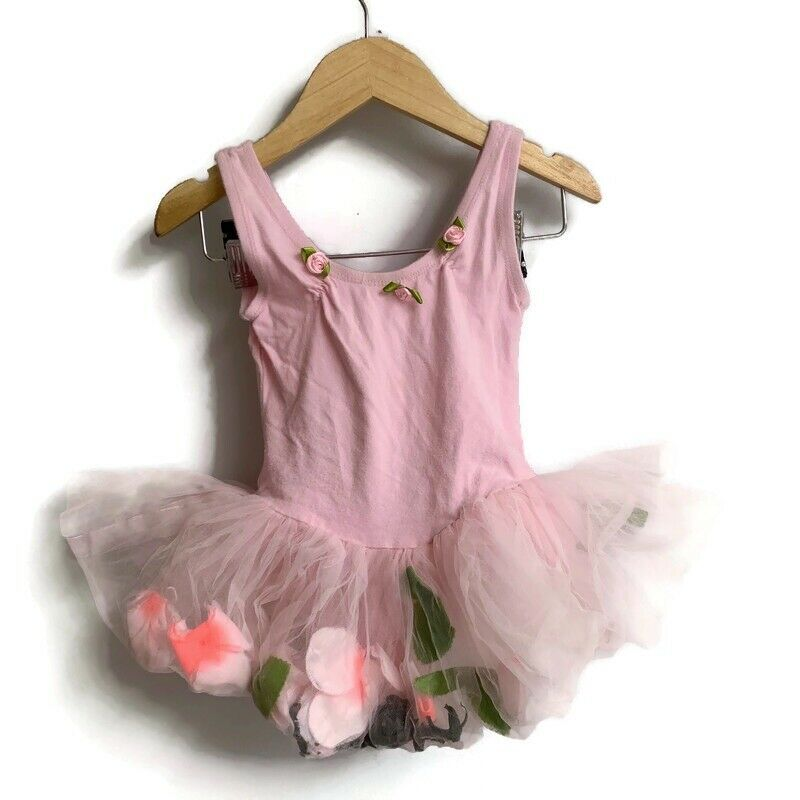 Popatu Girls Pink Leotard Size XS 2 Tutu Sleeveless Dance Gymnastics Petals
