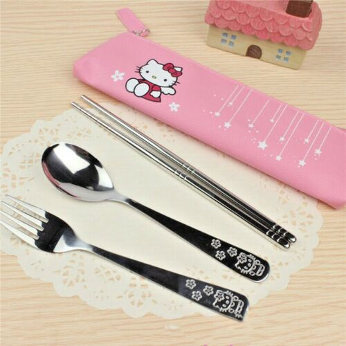 HELLO KITTY UTENSILS SET INCLUDE FORK, SPOON, CHOPSTICK & POUCH, SHIP FROM USA!