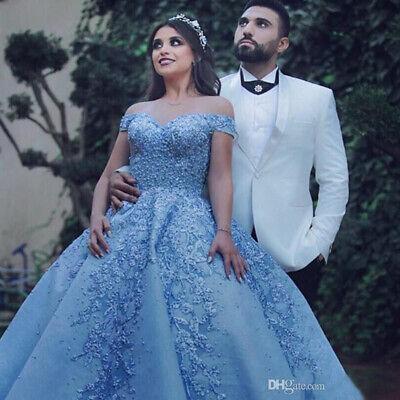 Luxury Sky Blue Applique Quinceanera Dresses Off Shoulder Celebrity Party Gowns