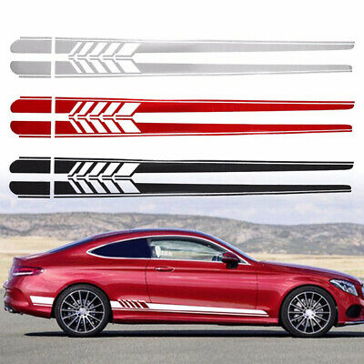 225cm Car Body Stripe Stickers Decals Side Skirt Vinyl Racing Car Long Stripes