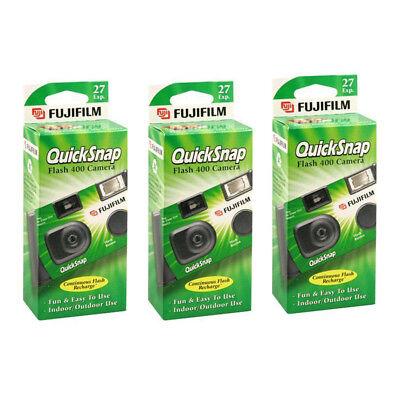 3 Pack Fujifilm Quicksnap Flash 400 ASA Disposable 35mm Camera