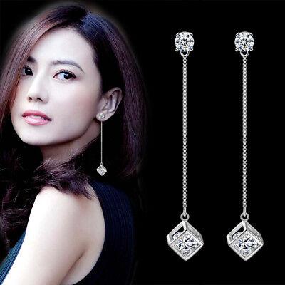 Cube Sterling Silver Earrings - 925 Sterling Silver Austrian Crystal Cube Drop Tessal Earrings For Women Jewelry