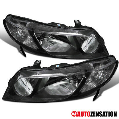 Fits 2006-2011 Honda Civic 4Dr Sedan Pair Black Clear Headlights Head Lamps
