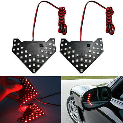 Turn Signal Mirror Lights Arrows (1pc Red 33-SMD Sequential LED Panel Arrows Car Side Mirror Turn Signal)