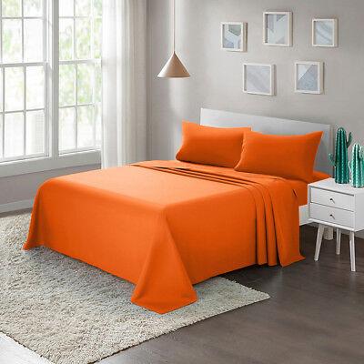 Bed Sheet Set 4-Piece Twin Full Queen King Brushed Microfiber 1800 Count, Orange - Orange Sheets
