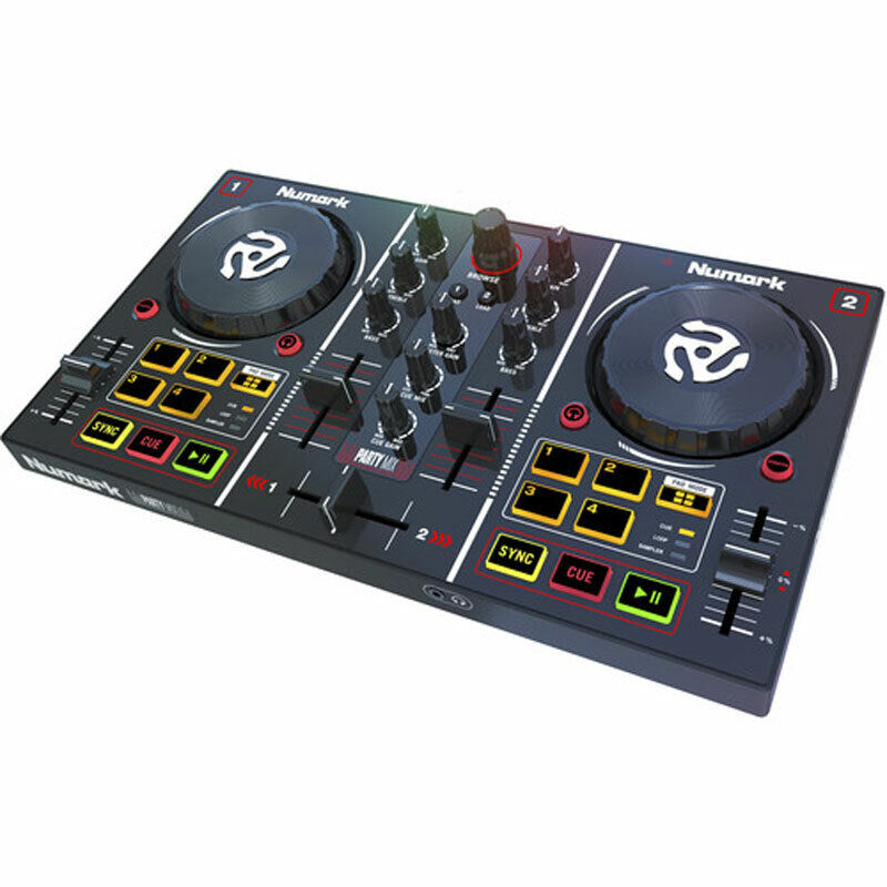 Numark Party Mix | Starter DJ Controller with Light Show & Built-In Sound Card