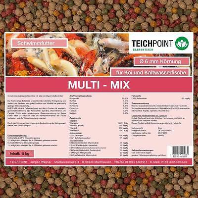 (€3,99/Kg)Koifutter Multi-Mix, 5 Kg 6 mm mit Spirulina, Astaxanthin, Weizenkeime