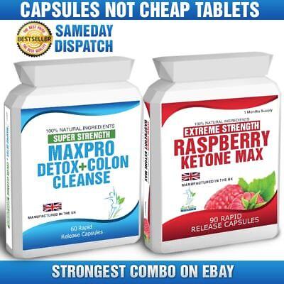 90 Raspberry Ketone Plus 60 Colon Cleanse Weight Loss Slimming Diet Pills Max