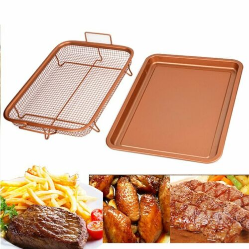 Copper Crisper Tray Oven Trays Pizza Maker Air Fry Kitchen B