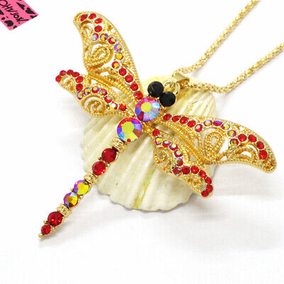 New Cute Red Bling Dragonfly AB Crystal Betsey Johnson Pendant Sweater Necklace