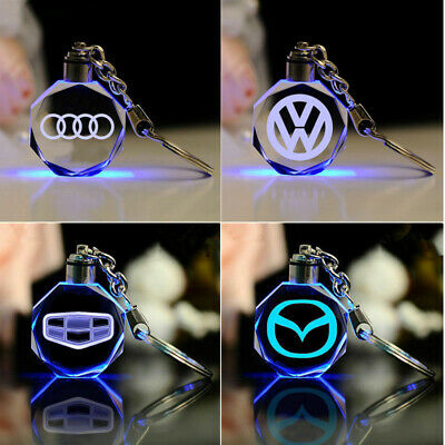 Car Logo Keyring LED car logo crystal light RGB Color changing key Chain keyring Led Lighted Logo Keychain