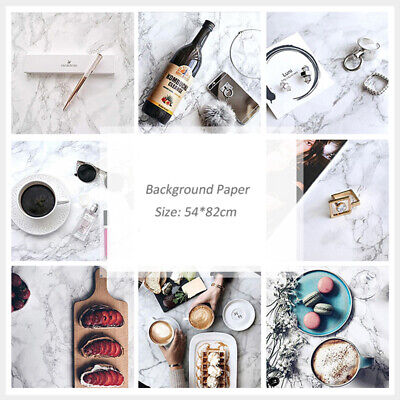 Double Sides Marble Like Food Photography Backdrop Background Paper Prop Board