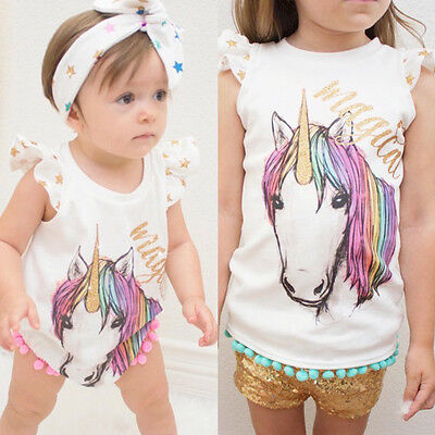 USA Big Little Sister Matching Baby Girls Unicorn Romper T-shirt Outfits Clothes
