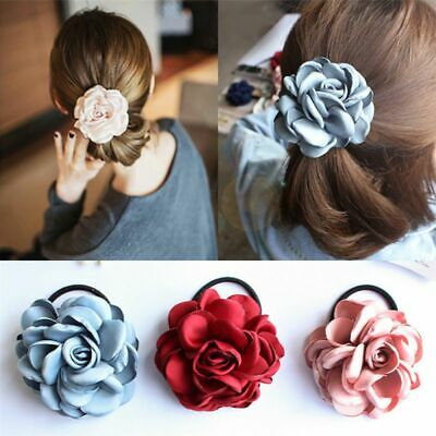 - Women's Elastic Big Bow Headband Rose Flower Ponytail Holder Hair Tie Rope Band