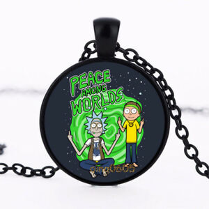 3 RICK AND MORTY 1 INCH BLACK  PHOTO GLASS  PENDANTS WITH  CHAIN