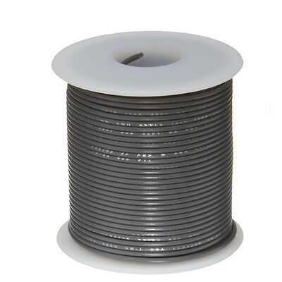 24 Awg Gauge Stranded Hook Up Wire Gray 100 Ft 0.0201 Ul1007 300 Volts
