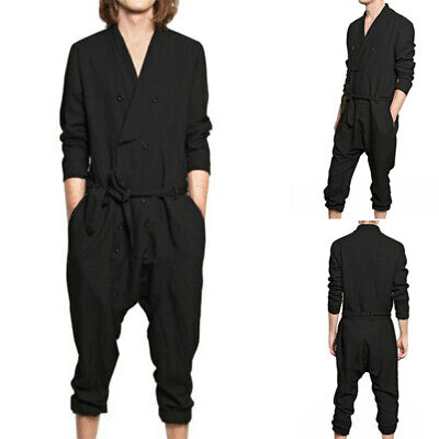 Mens Long Sleeve Baggy Causal Overalls Jumpsuit Rompers Fashion Trousers Pants Cotton Long Sleeve Overalls