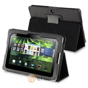 Black PU Leather Folio Pouch Case Cover Stand for Blackberry Playbook Tablet