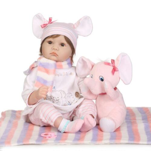 22'' Lifelike Newborn Babies Silicone Vinyl Reborn Baby Dolls Handmade Xmas Gif