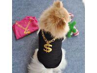 Summer Pet Puppy Small Dog Cat Pet Clothes Vest T Shirt Apparel BK/M