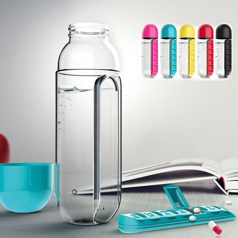 7 Day 600ML Plastic Water Bottle With Daily Pill Box Organiz