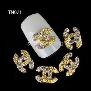 bijoux 3d lot de 4 nail art deco manucure ongle faux ongles gel or strass a1 ebay. Black Bedroom Furniture Sets. Home Design Ideas