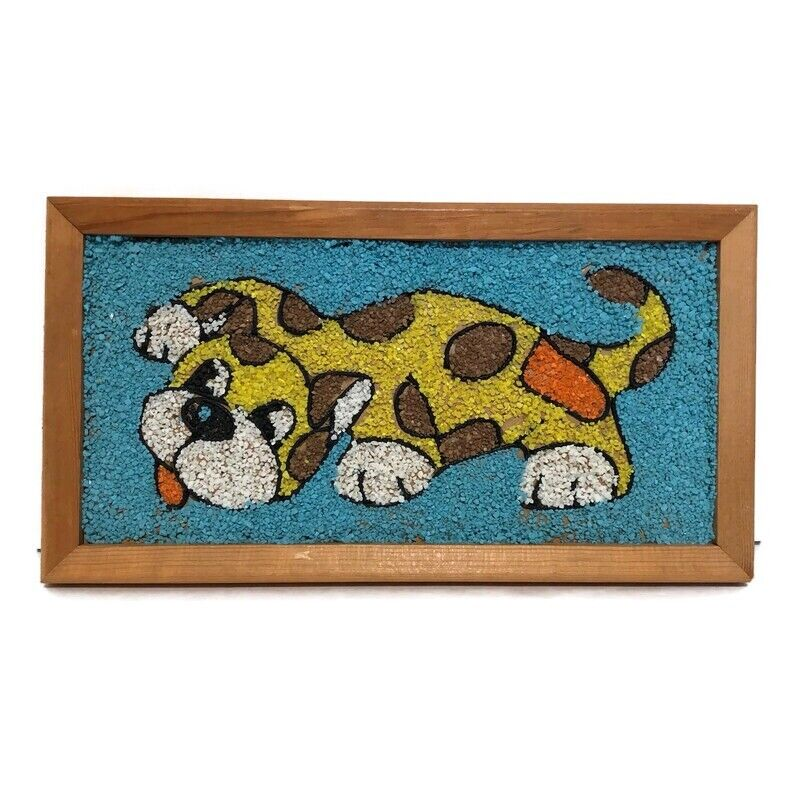 Vintage 1962 Mosette Craft Masters Calico Cat Crushed Marble Mosaic READ