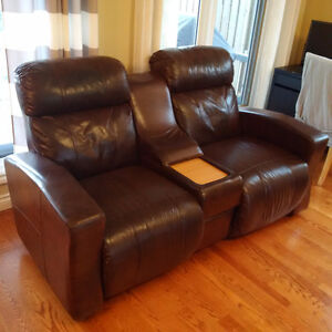 Genuine Leather Loveseat Recliner with Centre Console