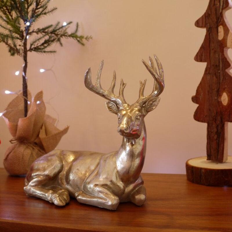 Resin Laying Down Stag Sculpture Silver Reindeer Deer