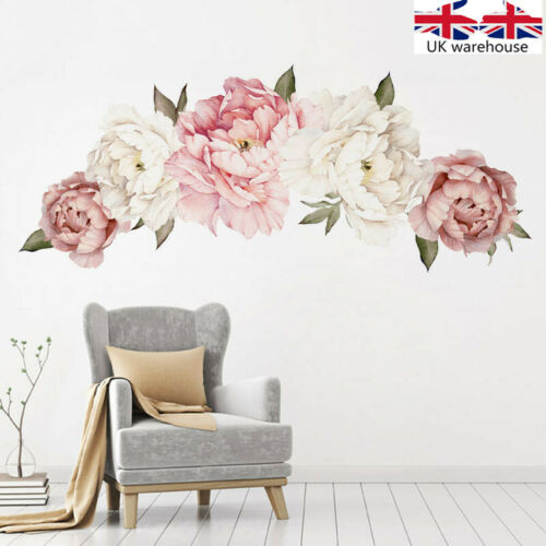 Home Decoration - UK Pink Peony Flower Wall Stickers Kids Baby Nursery Decor Mural Decal Top