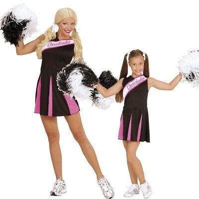 Damen Kinder Cheerleader Kleid Sport Kostüm schwarz/pink Gr. 104 cm bis Gr. 44 (Kinder Sport Kostüme)