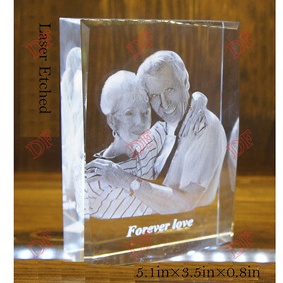 Personalized Gift Engraved Photo Frame Crystal Glass Clear Laser Etched Birthday