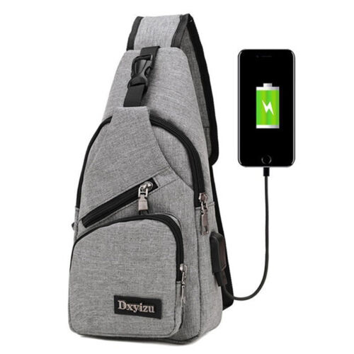 Men/'s Shoulder Bag Sling Chest Pack Canvas USB Charging Sports Crossbody Handbag