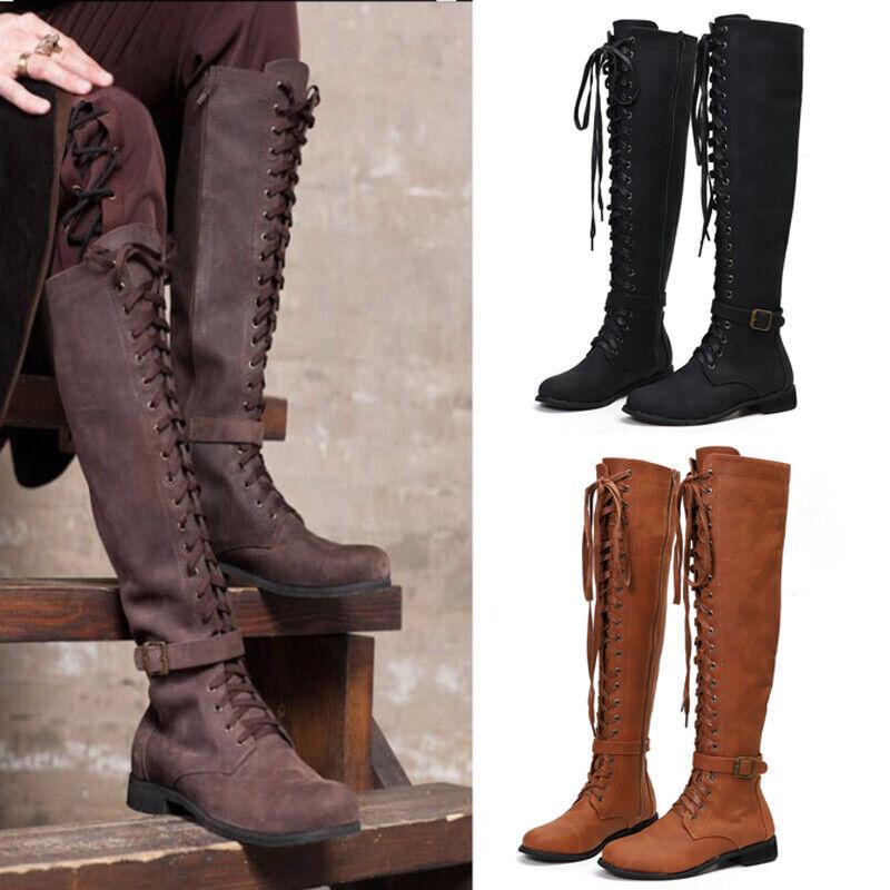 Details zu Damen Damenschuhe Retro Spitze Kniehohe Stiefel Stiefeletten Flach Schuhe Mode