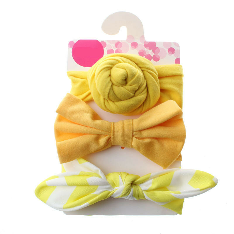 3Pcs Bowknot Elastic Head Bands For Baby Girls Headband Baby Hair Accessories