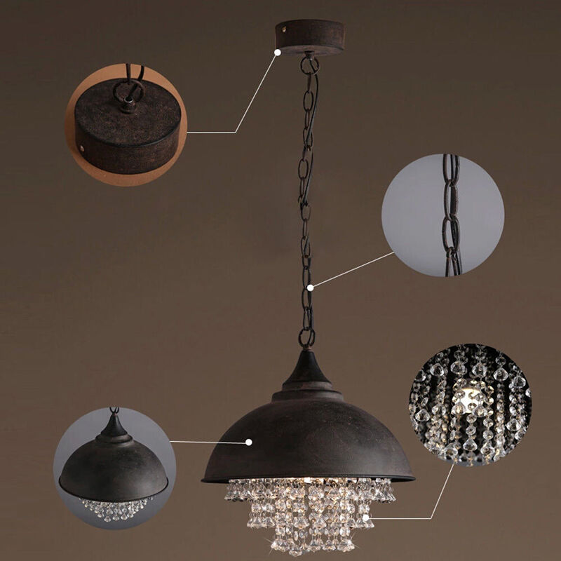 pendant lights vintage industrial crystal ceiling lighting lamp ebay