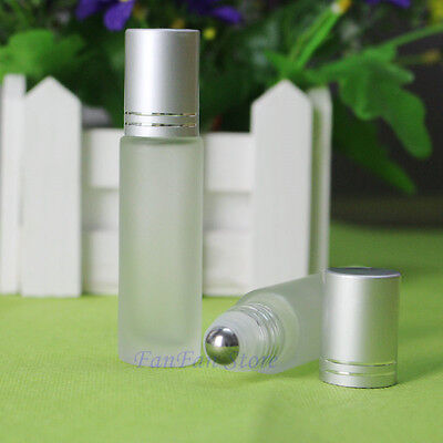 10PC Frosted Silver Glass Roll On Essential Oils Perfume Bottle Roller Ball 10ML