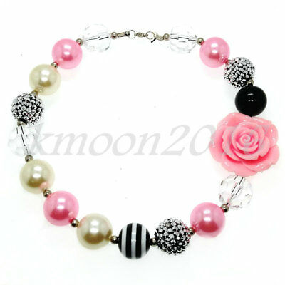 Lovely Pink flowers Chunky Gumball Beads Bubblegum Necklace Jewelry For Kids (Bubblegum Necklace Beads)