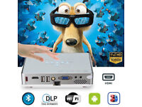 BRAND NEW,3000-Lumens,,1080P Full HD DLP 300W,,ANDROID 3D Mini Wifi Projector + 3D Glass