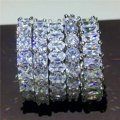 Simple Women Wedding Engagment Band Ring Sparkle Cz AAAAA Stackable (Simple Sparkle)