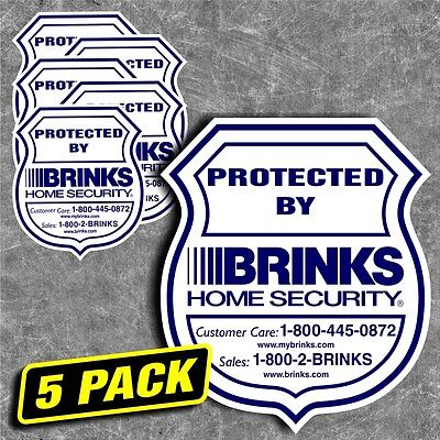 Security Home Brinks Alarm System Sticker Decal Sign Window Outside Warning 5pc