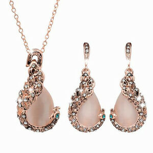 Set Elegant Women Peacock Crystal Rhinestone Pendant Necklace Earrings Jewelry
