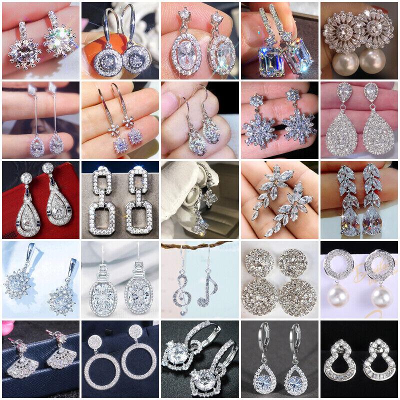 Elegant 925 Silver Women Cubic Zircon Crystal Earrings Stud Drop Jewelry Gifts