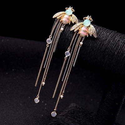 - Betsey Johnson Gold Pink Striped Enamel Green Crystal Bee Very Long 5