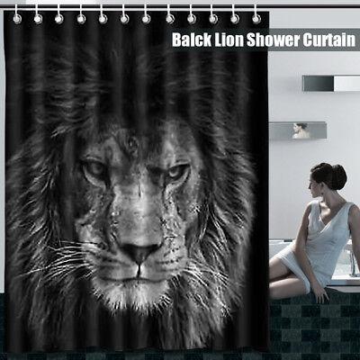 US Waterproof  Black Lion Head Home Bathroom Shower Curtain Decor +12 Hooks Set